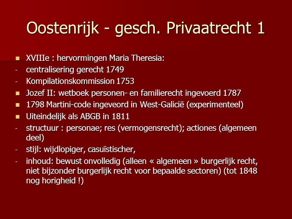 Oostenrijk - gesch. Privaatrecht 1 XVIIIe : hervormingen Maria Theresia: XVIIIe : hervormingen Maria Theresia: - centralisering gerecht 1749 - Kompila