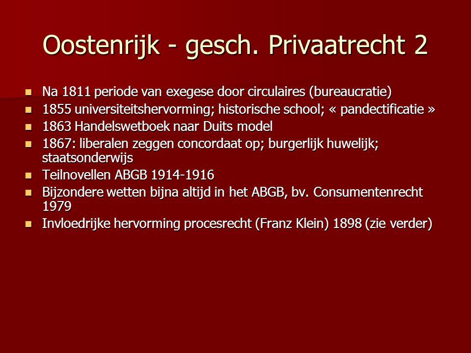 Oostenrijk - gesch. Privaatrecht 2 Na 1811 periode van exegese door circulaires (bureaucratie) Na 1811 periode van exegese door circulaires (bureaucra