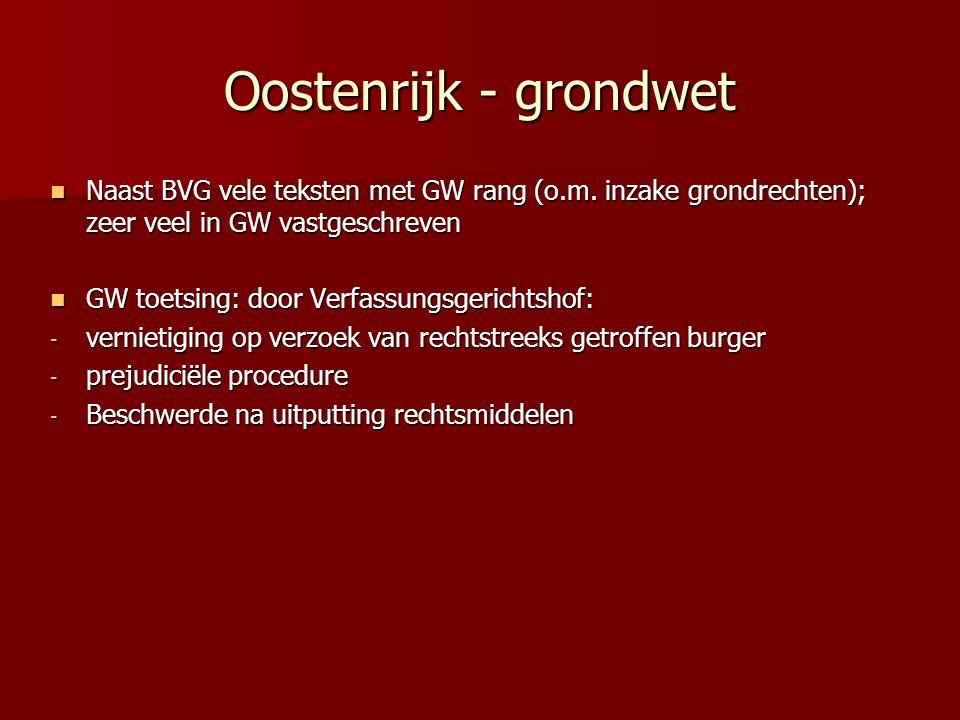 Oostenrijk - grondwet Naast BVG vele teksten met GW rang (o.m. inzake grondrechten); zeer veel in GW vastgeschreven Naast BVG vele teksten met GW rang