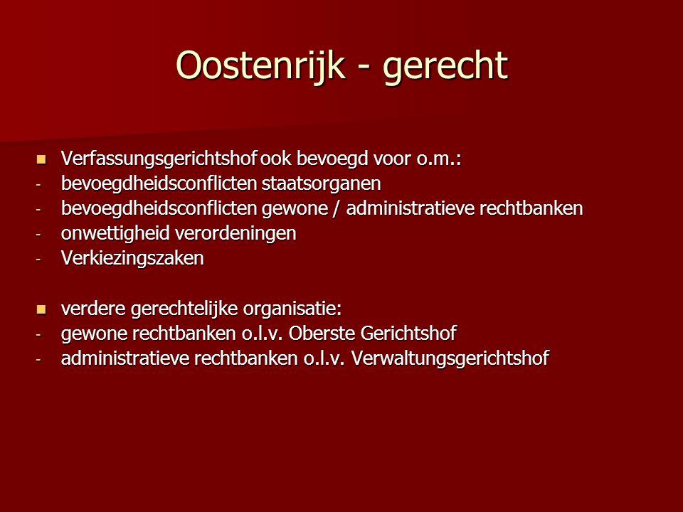 Oostenrijk - gerecht Verfassungsgerichtshof ook bevoegd voor o.m.: Verfassungsgerichtshof ook bevoegd voor o.m.: - bevoegdheidsconflicten staatsorgane