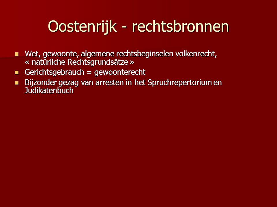 Oostenrijk - rechtsbronnen Wet, gewoonte, algemene rechtsbeginselen volkenrecht, « natürliche Rechtsgrundsätze » Wet, gewoonte, algemene rechtsbeginse