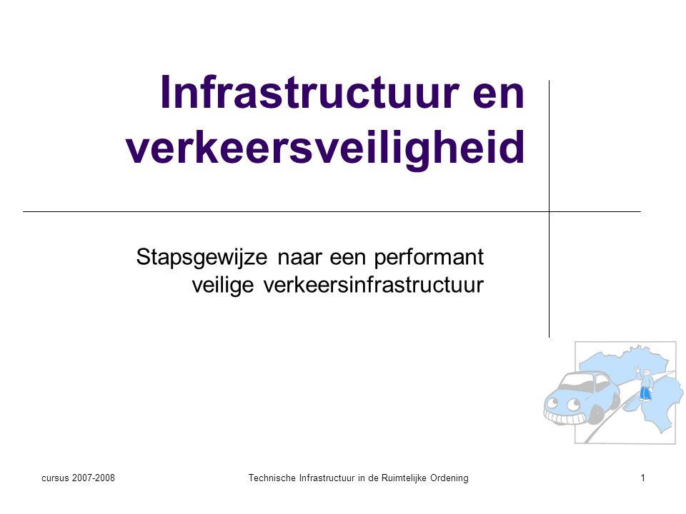 cursus 2007-2008Technische Infrastructuur in de Ruimtelijke Ordening1 Infrastructuur en verkeersveiligheid Stapsgewijze naar een performant veilige ve