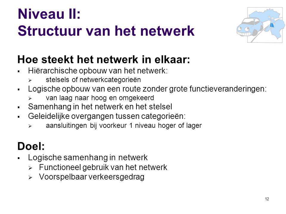 12 Niveau II: Structuur van het netwerk Hoe steekt het netwerk in elkaar:  Hiërarchische opbouw van het netwerk:  stelsels of netwerkcategorieën  L