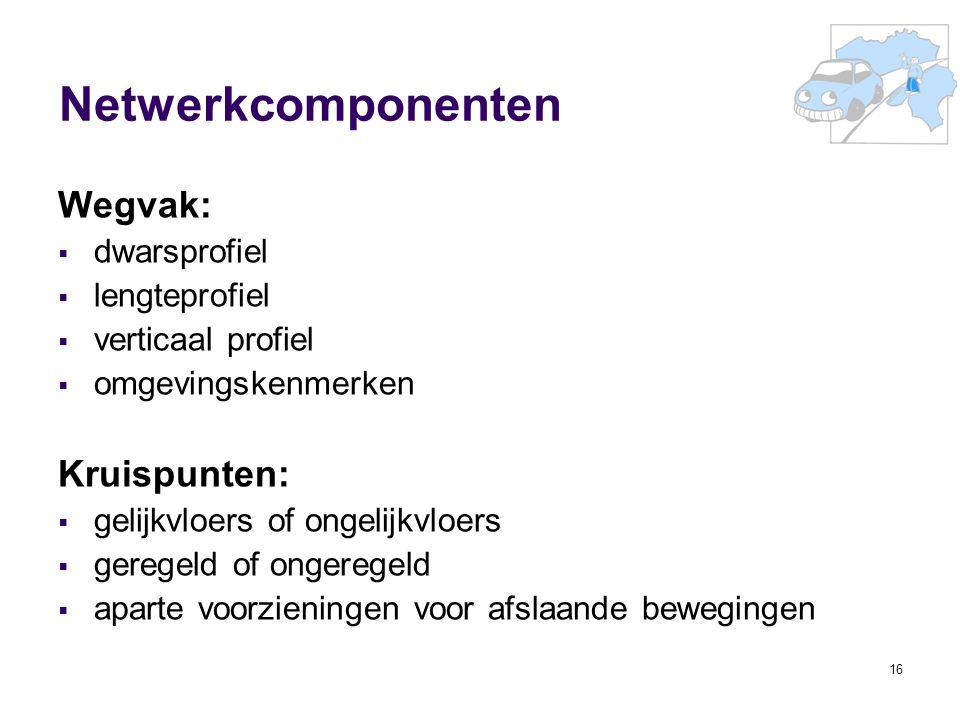 16 Netwerkcomponenten Wegvak:  dwarsprofiel  lengteprofiel  verticaal profiel  omgevingskenmerken Kruispunten:  gelijkvloers of ongelijkvloers 