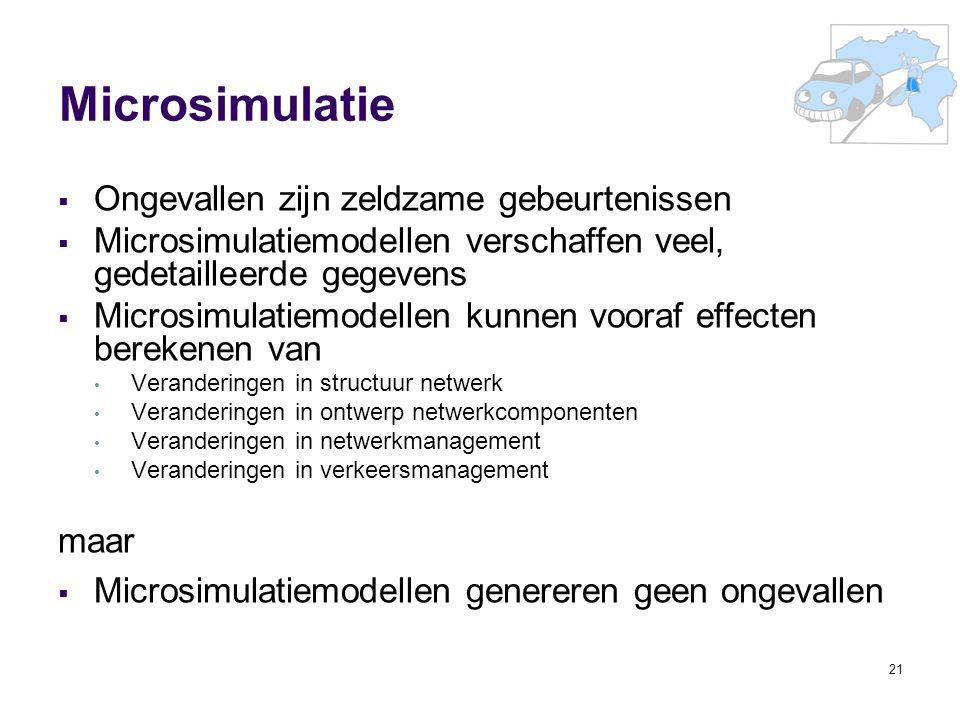 21 Microsimulatie  Ongevallen zijn zeldzame gebeurtenissen  Microsimulatiemodellen verschaffen veel, gedetailleerde gegevens  Microsimulatiemodelle