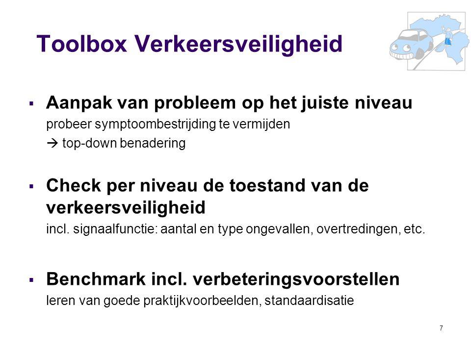 7 Toolbox Verkeersveiligheid  Aanpak van probleem op het juiste niveau probeer symptoombestrijding te vermijden  top-down benadering  Check per niv
