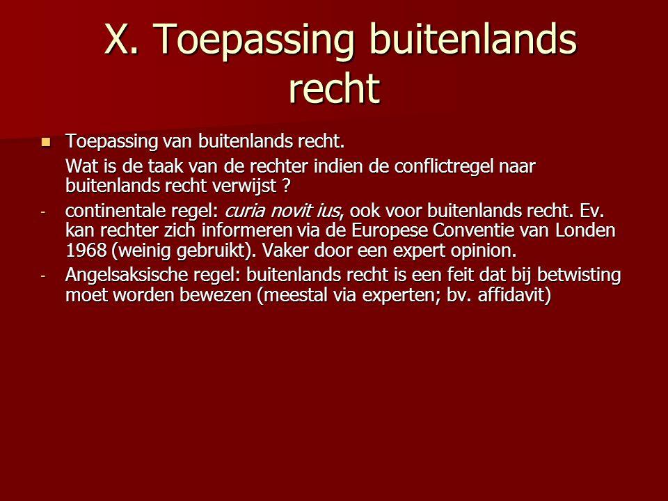 X.Toepassing buitenlands recht X. Toepassing buitenlands recht Toepassing van buitenlands recht.