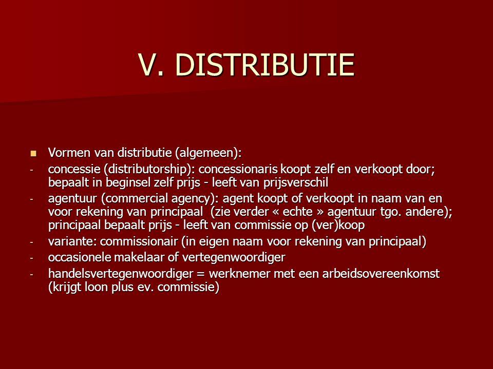 V. DISTRIBUTIE Vormen van distributie (algemeen): Vormen van distributie (algemeen): - concessie (distributorship): concessionaris koopt zelf en verko