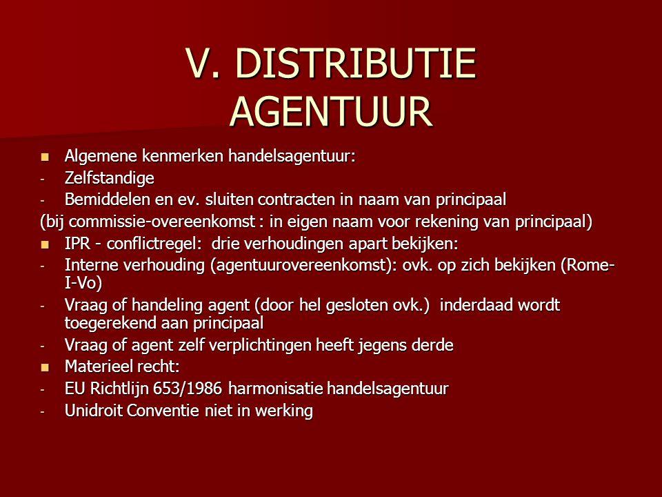 V. DISTRIBUTIE AGENTUUR Algemene kenmerken handelsagentuur: Algemene kenmerken handelsagentuur: - Zelfstandige - Bemiddelen en ev. sluiten contracten