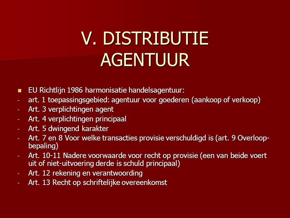 V. DISTRIBUTIE AGENTUUR EU Richtlijn 1986 harmonisatie handelsagentuur: EU Richtlijn 1986 harmonisatie handelsagentuur: - art. 1 toepassingsgebied: ag