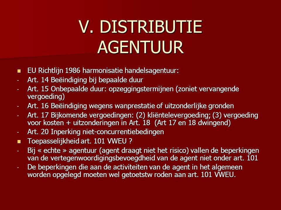V. DISTRIBUTIE AGENTUUR EU Richtlijn 1986 harmonisatie handelsagentuur: EU Richtlijn 1986 harmonisatie handelsagentuur: - Art. 14 Beëindiging bij bepa