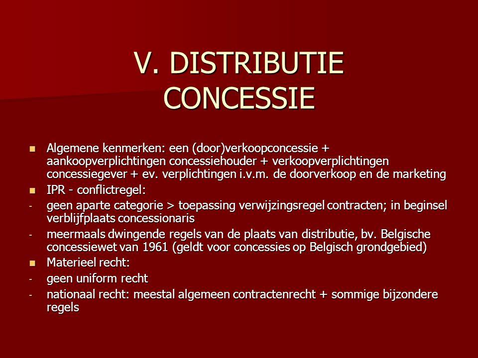 V. DISTRIBUTIE CONCESSIE Algemene kenmerken: een (door)verkoopconcessie + aankoopverplichtingen concessiehouder + verkoopverplichtingen concessiegever