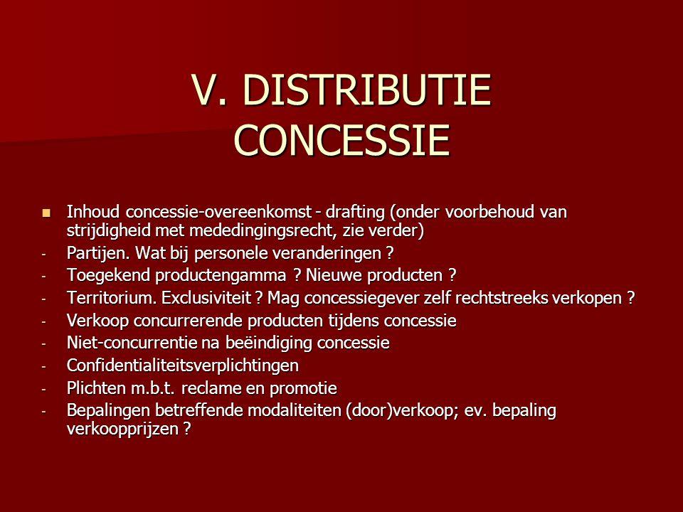 V. DISTRIBUTIE CONCESSIE Inhoud concessie-overeenkomst - drafting (onder voorbehoud van strijdigheid met mededingingsrecht, zie verder) Inhoud concess
