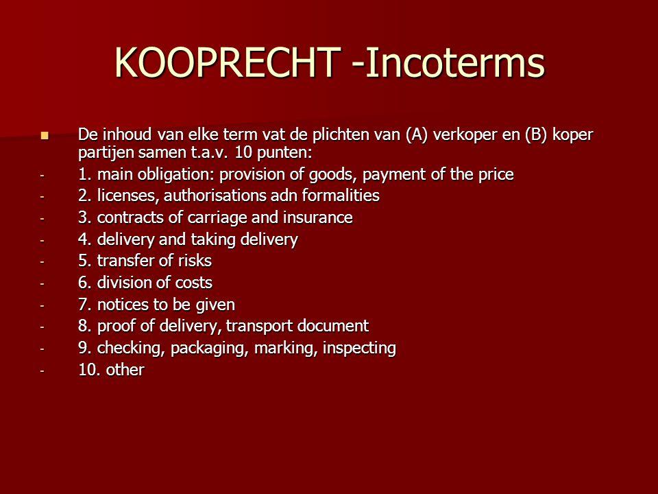 KOOPRECHT -Incoterms De inhoud van elke term vat de plichten van (A) verkoper en (B) koper partijen samen t.a.v. 10 punten: De inhoud van elke term va