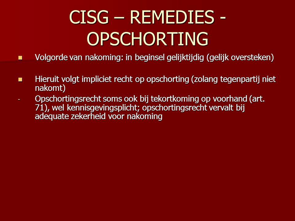 CISG – REMEDIES - OPSCHORTING Volgorde van nakoming: in beginsel gelijktijdig (gelijk oversteken) Volgorde van nakoming: in beginsel gelijktijdig (gel