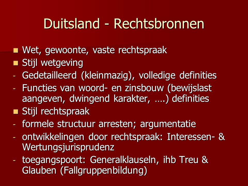 Duitsland - Rechtsbronnen Wet, gewoonte, vaste rechtspraak Wet, gewoonte, vaste rechtspraak Stijl wetgeving Stijl wetgeving - Gedetailleerd (kleinmazi