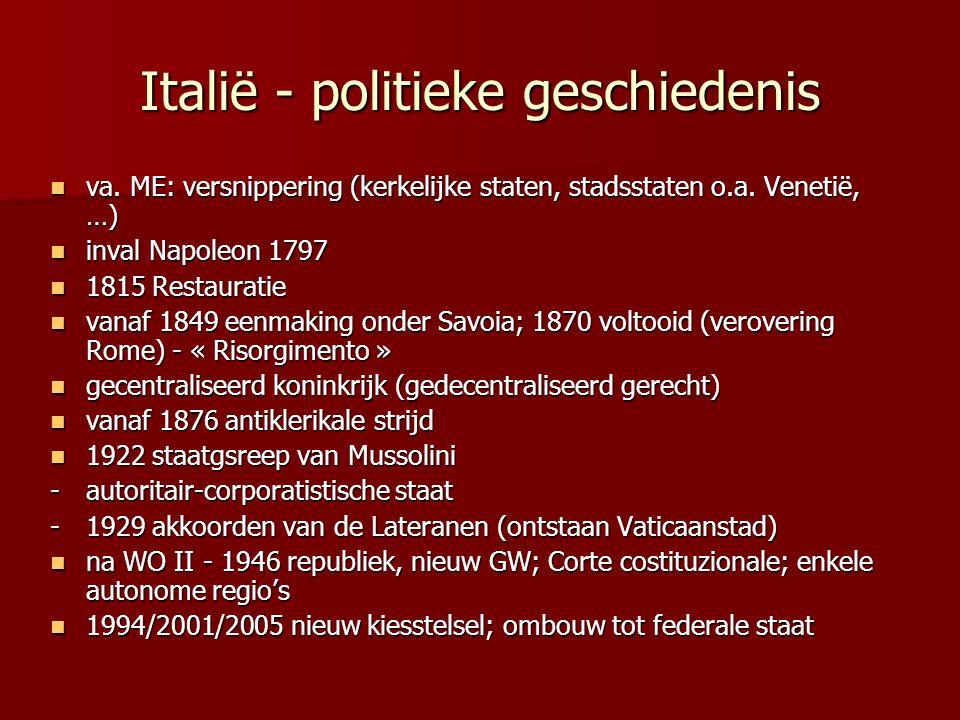 Italië - politieke geschiedenis va. ME: versnippering (kerkelijke staten, stadsstaten o.a. Venetië, …) va. ME: versnippering (kerkelijke staten, stads