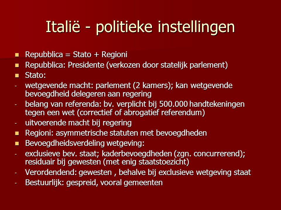 Italië - politieke instellingen Repubblica = Stato + Regioni Repubblica = Stato + Regioni Repubblica: Presidente (verkozen door statelijk parlement) R