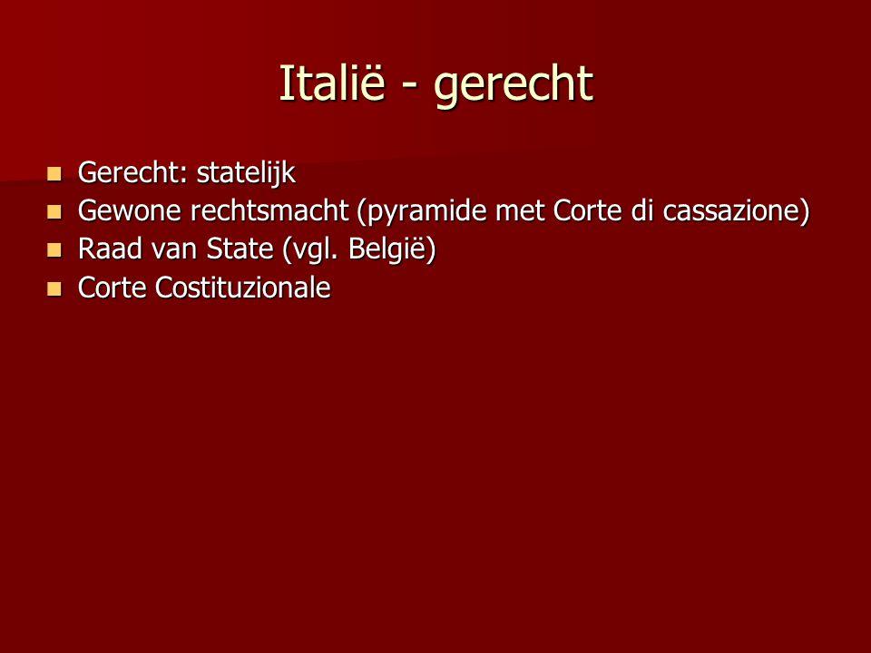 Italië - gerecht Gerecht: statelijk Gerecht: statelijk Gewone rechtsmacht (pyramide met Corte di cassazione) Gewone rechtsmacht (pyramide met Corte di