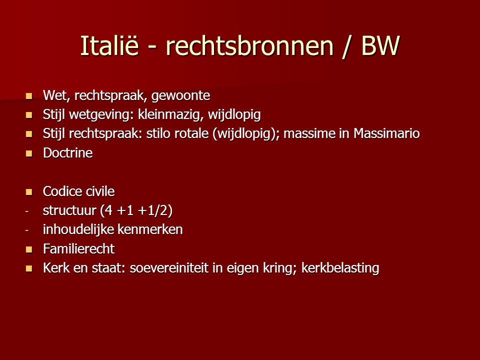 Italië - rechtsbronnen / BW Wet, rechtspraak, gewoonte Wet, rechtspraak, gewoonte Stijl wetgeving: kleinmazig, wijdlopig Stijl wetgeving: kleinmazig,