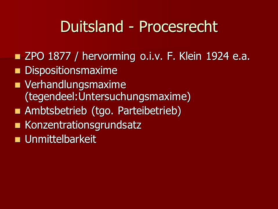 Duitsland - Procesrecht ZPO 1877 / hervorming o.i.v. F. Klein 1924 e.a. ZPO 1877 / hervorming o.i.v. F. Klein 1924 e.a. Dispositionsmaxime Disposition