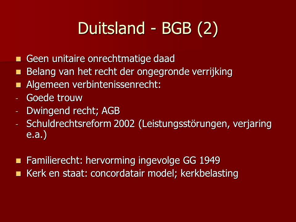 Duitsland - BGB (2) Geen unitaire onrechtmatige daad Geen unitaire onrechtmatige daad Belang van het recht der ongegronde verrijking Belang van het re