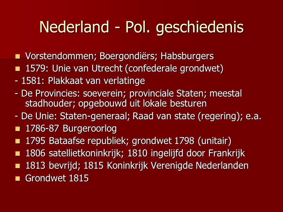 Nederland - Pol. geschiedenis Vorstendommen; Boergondiërs; Habsburgers Vorstendommen; Boergondiërs; Habsburgers 1579: Unie van Utrecht (confederale gr
