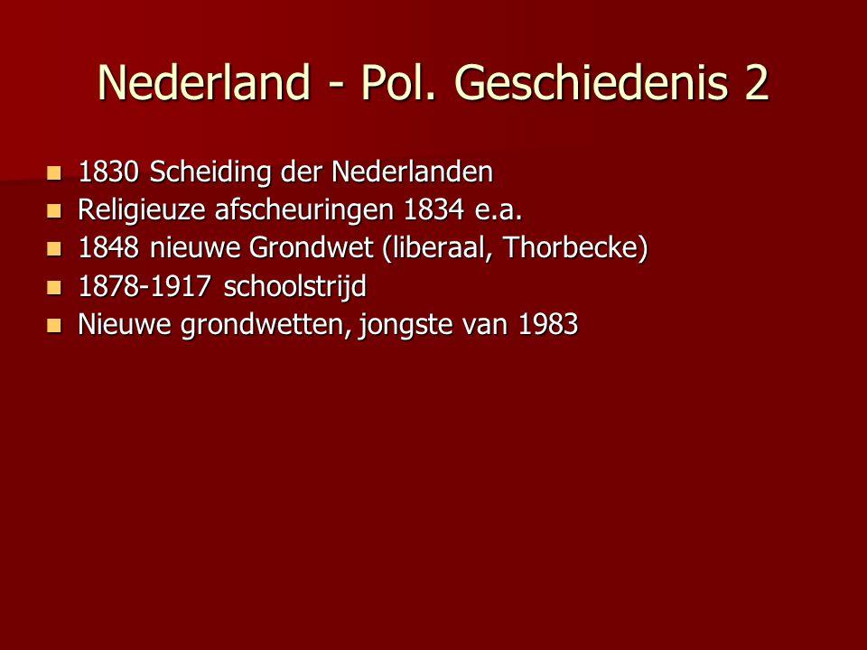 Nederland - Pol. Geschiedenis 2 1830 Scheiding der Nederlanden 1830 Scheiding der Nederlanden Religieuze afscheuringen 1834 e.a. Religieuze afscheurin