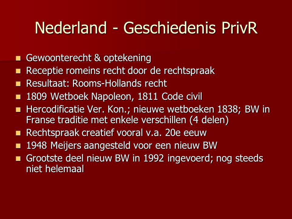 Nederland - Geschiedenis PrivR Gewoonterecht & optekening Gewoonterecht & optekening Receptie romeins recht door de rechtspraak Receptie romeins recht
