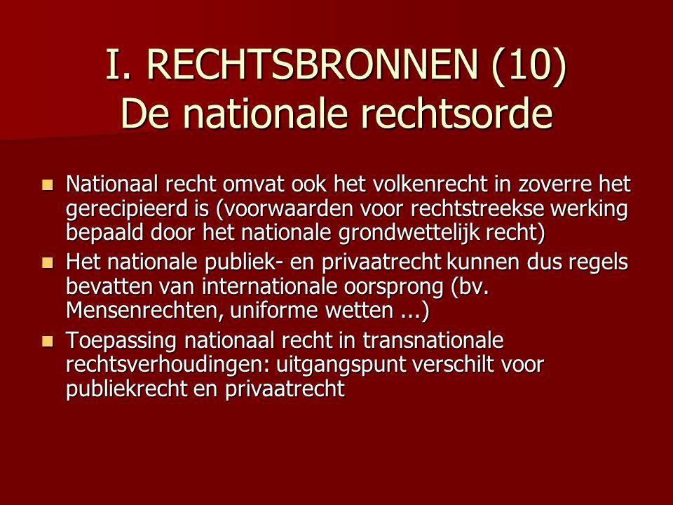 I. RECHTSBRONNEN (10) De nationale rechtsorde Nationaal recht omvat ook het volkenrecht in zoverre het gerecipieerd is (voorwaarden voor rechtstreekse