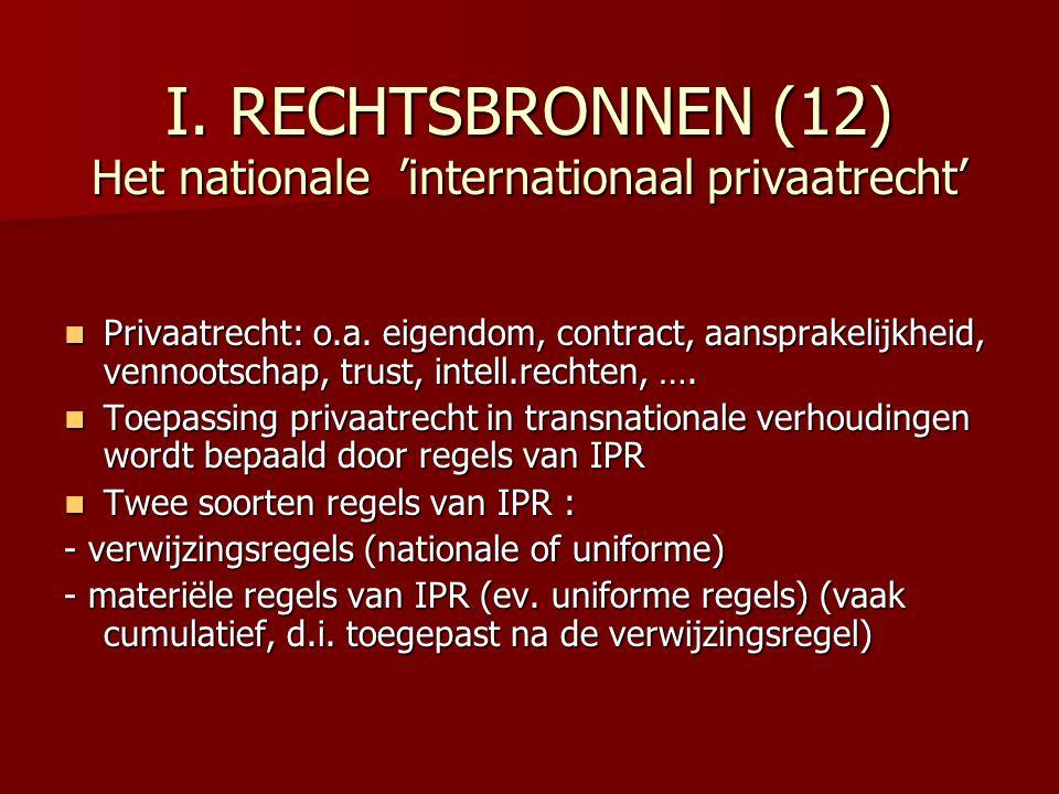 I. RECHTSBRONNEN (12) Het nationale 'internationaal privaatrecht' Privaatrecht: o.a. eigendom, contract, aansprakelijkheid, vennootschap, trust, intel