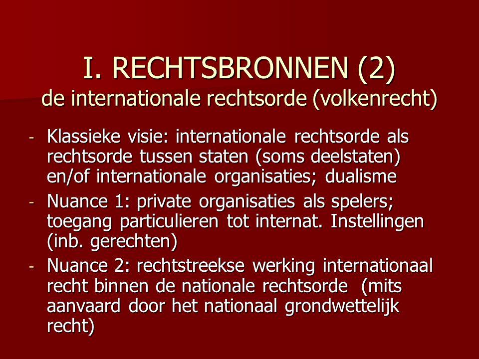 I. RECHTSBRONNEN (2) de internationale rechtsorde (volkenrecht) - Klassieke visie: internationale rechtsorde als rechtsorde tussen staten (soms deelst
