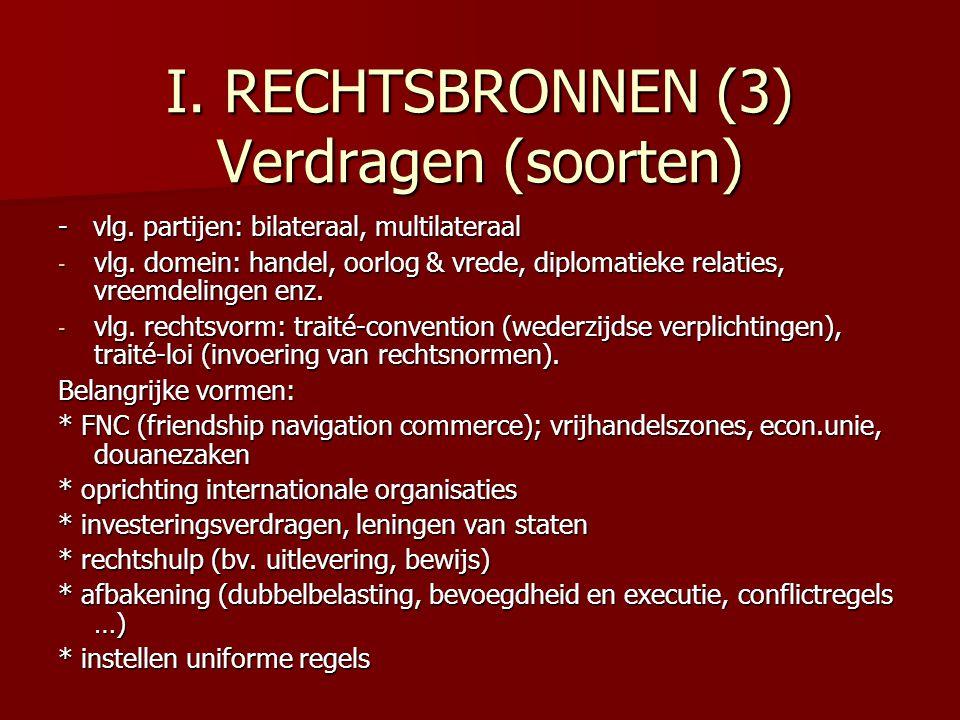 I.RECHTSBRONNEN (3) Verdragen (soorten) - vlg. partijen: bilateraal, multilateraal - vlg.