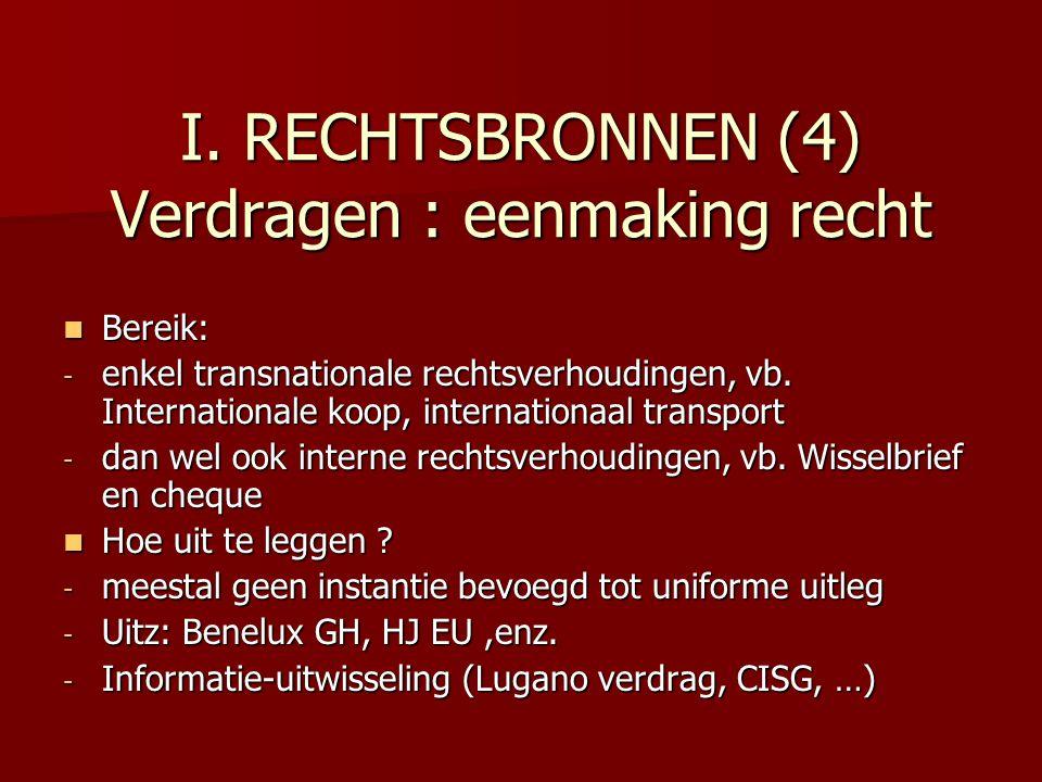 I. RECHTSBRONNEN (4) Verdragen : eenmaking recht Bereik: Bereik: - enkel transnationale rechtsverhoudingen, vb. Internationale koop, internationaal tr