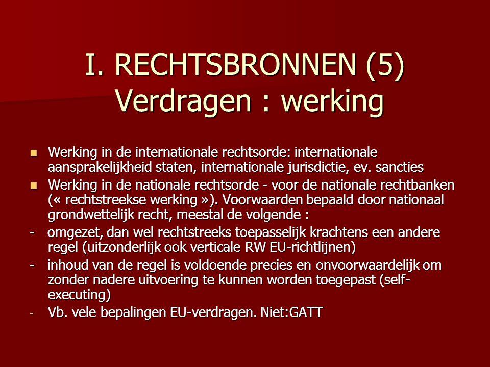 I. RECHTSBRONNEN (5) Verdragen : werking Werking in de internationale rechtsorde: internationale aansprakelijkheid staten, internationale jurisdictie,
