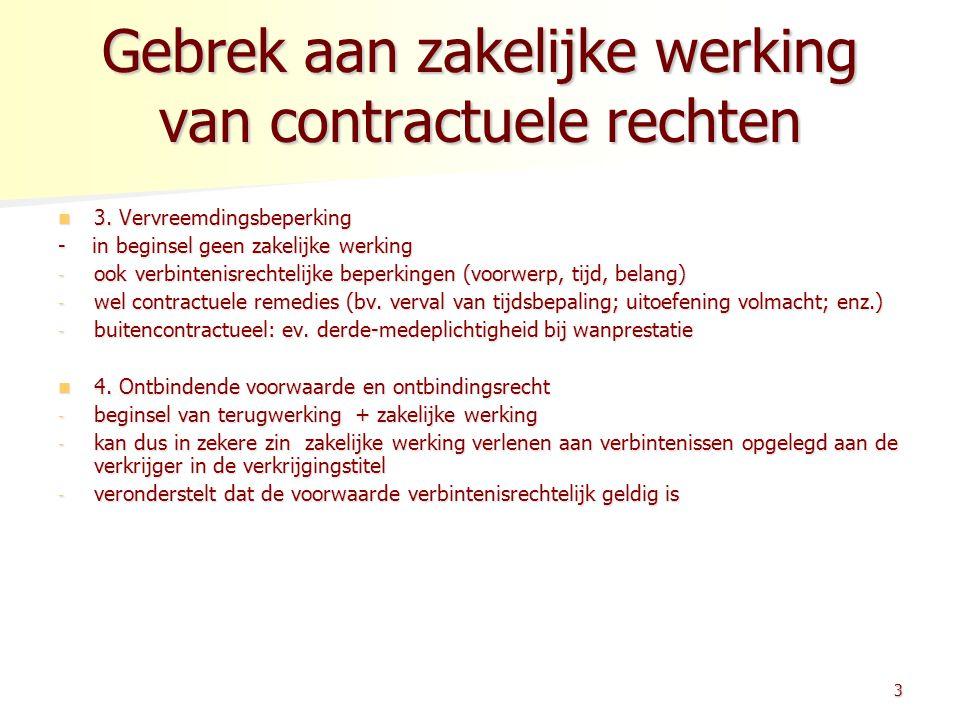 Gebrek aan zakelijke werking van contractuele rechten 3. Vervreemdingsbeperking 3. Vervreemdingsbeperking - in beginsel geen zakelijke werking - ook v