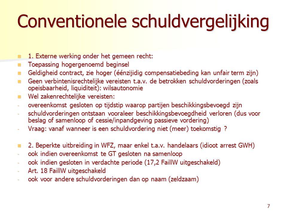 Conventionele schuldvergelijking Conventionele schuldvergelijking 1. Externe werking onder het gemeen recht: 1. Externe werking onder het gemeen recht