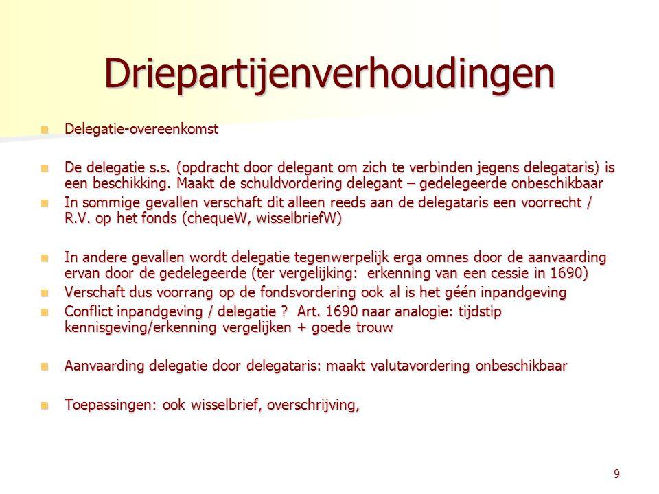 Driepartijenverhoudingen Delegatie-overeenkomst Delegatie-overeenkomst De delegatie s.s. (opdracht door delegant om zich te verbinden jegens delegatar