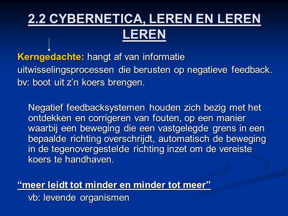 2.2 CYBERNETICA, LEREN EN LEREN LEREN Kerngedachte: hangt af van informatie uitwisselingsprocessen die berusten op negatieve feedback. bv: boot uit z'