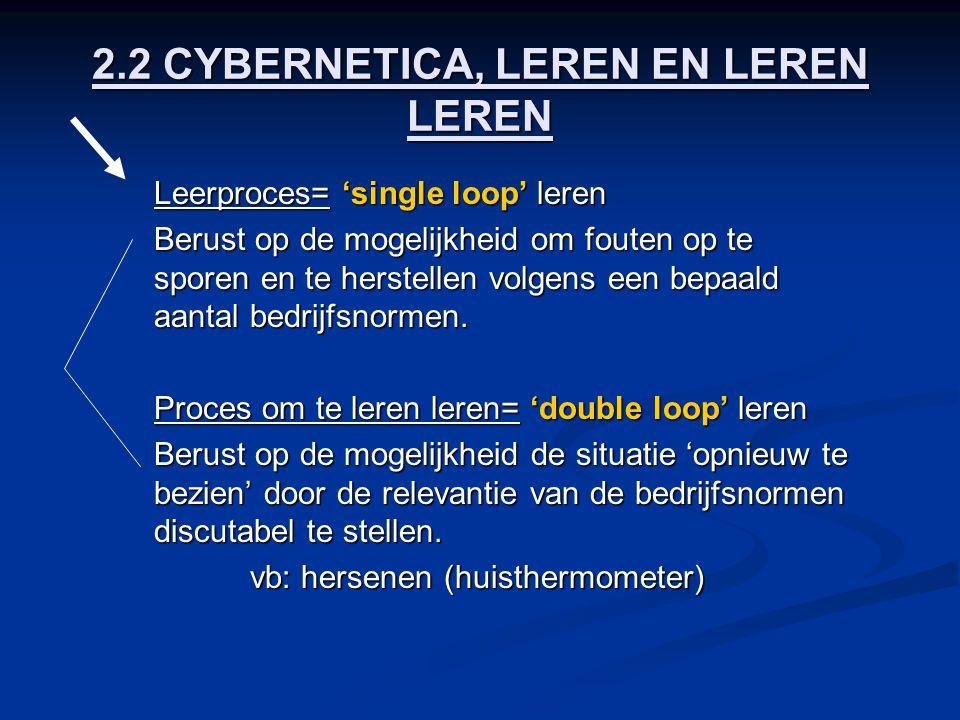 2.2 CYBERNETICA, LEREN EN LEREN LEREN Leerproces= 'single loop' leren Berust op de mogelijkheid om fouten op te sporen en te herstellen volgens een be