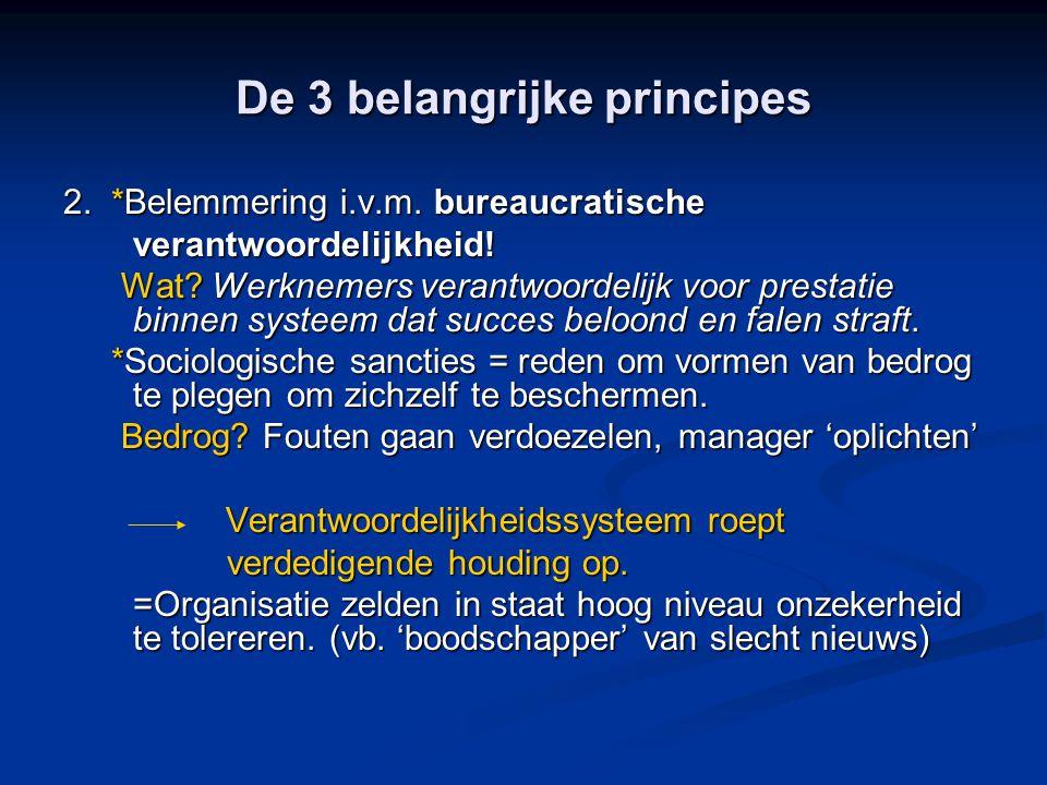 De 3 belangrijke principes 2. *Belemmering i.v.m. bureaucratische verantwoordelijkheid! Wat? Werknemers verantwoordelijk voor prestatie binnen systeem