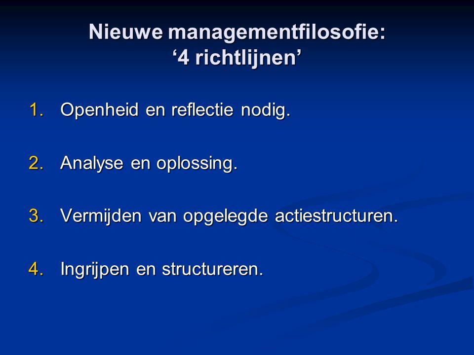 Nieuwe managementfilosofie: '4 richtlijnen' 1.Openheid en reflectie nodig. 2.Analyse en oplossing. 3.Vermijden van opgelegde actiestructuren. 4.Ingrij