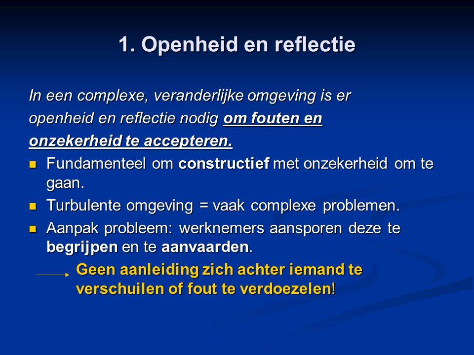 1. Openheid en reflectie In een complexe, veranderlijke omgeving is er openheid en reflectie nodig om fouten en onzekerheid te accepteren. Fundamentee