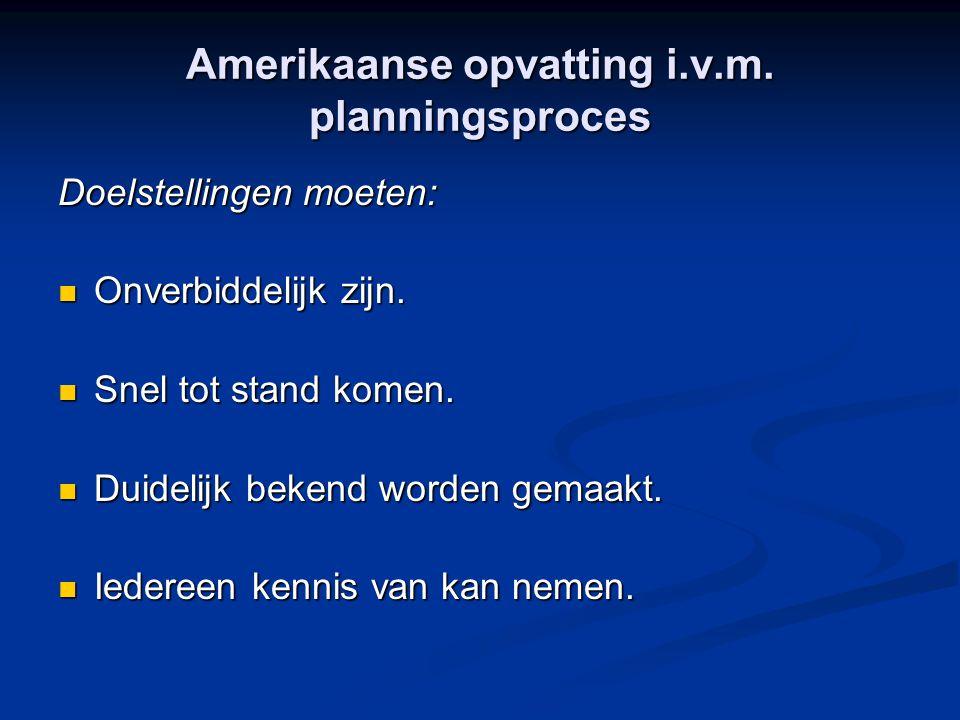 Amerikaanse opvatting i.v.m. planningsproces Doelstellingen moeten: Onverbiddelijk zijn. Onverbiddelijk zijn. Snel tot stand komen. Snel tot stand kom