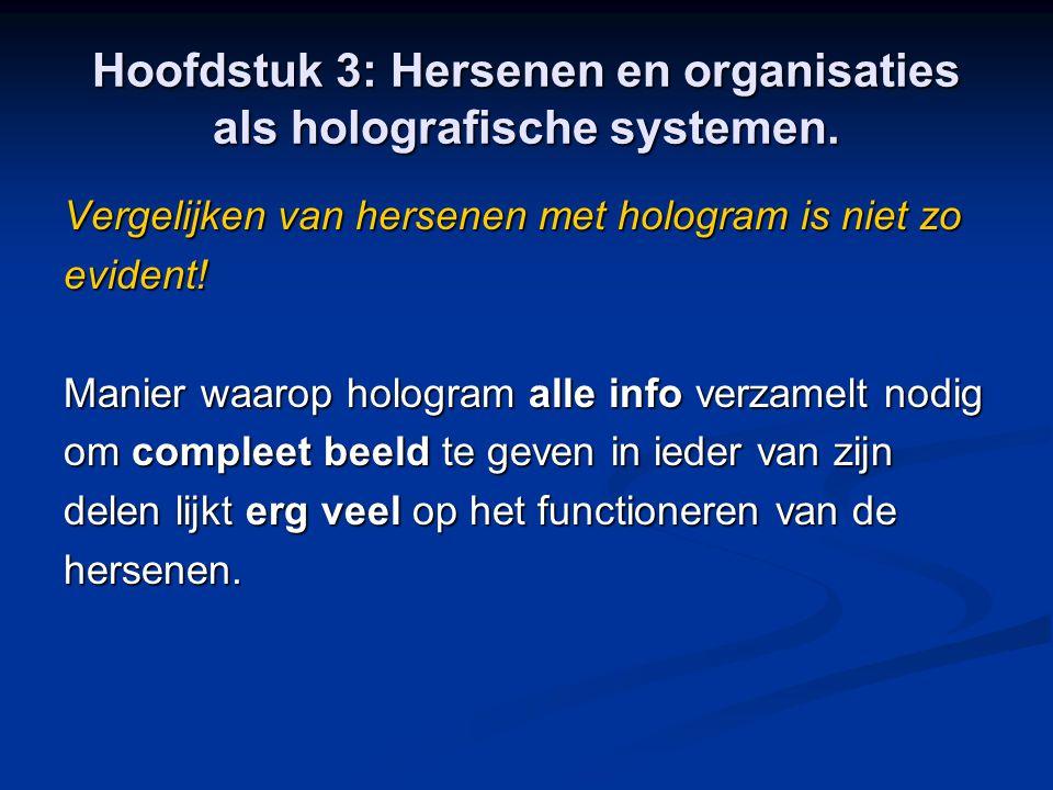 Hoofdstuk 3: Hersenen en organisaties als holografische systemen. Vergelijken van hersenen met hologram is niet zo evident! Manier waarop hologram all