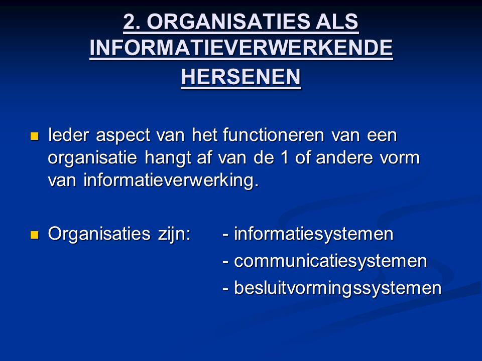 2. ORGANISATIES ALS INFORMATIEVERWERKENDE HERSENEN Ieder aspect van het functioneren van een organisatie hangt af van de 1 of andere vorm van informat