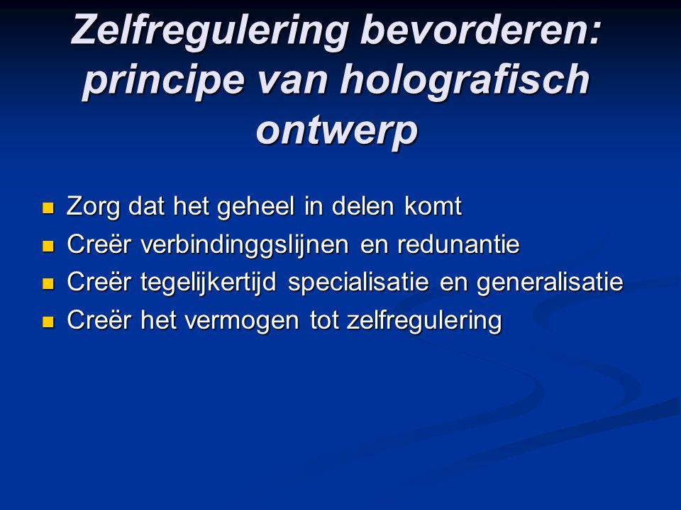 Zelfregulering bevorderen: principe van holografisch ontwerp Zorg dat het geheel in delen komt Zorg dat het geheel in delen komt Creër verbindinggslij