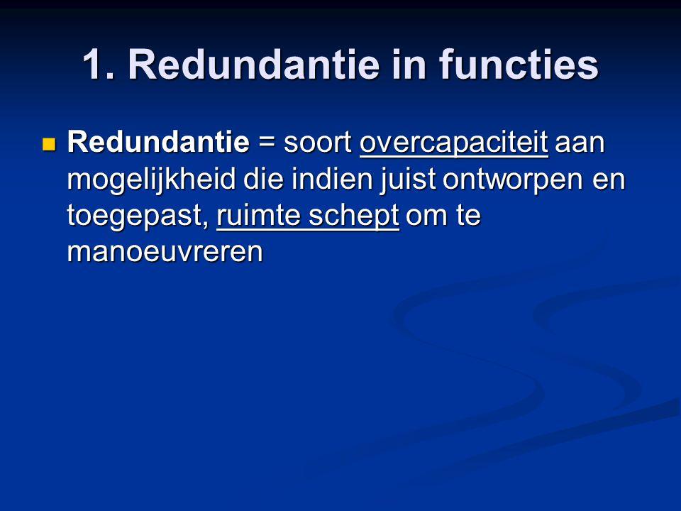 1. Redundantie in functies Redundantie = soort overcapaciteit aan mogelijkheid die indien juist ontworpen en toegepast, ruimte schept om te manoeuvrer