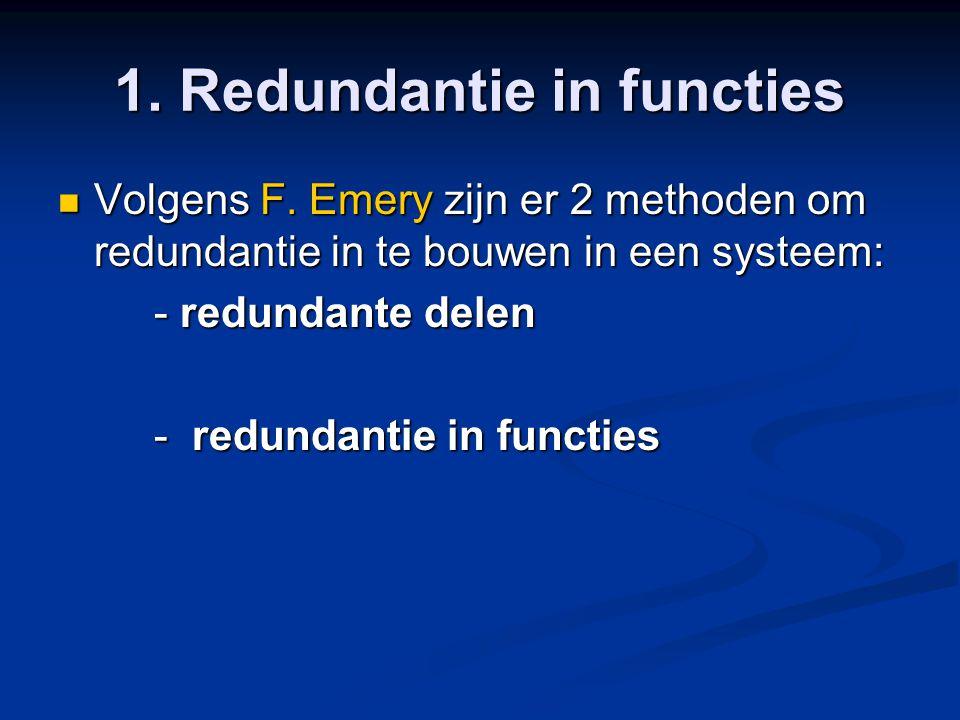 1. Redundantie in functies Volgens F. Emery zijn er 2 methoden om redundantie in te bouwen in een systeem: Volgens F. Emery zijn er 2 methoden om redu