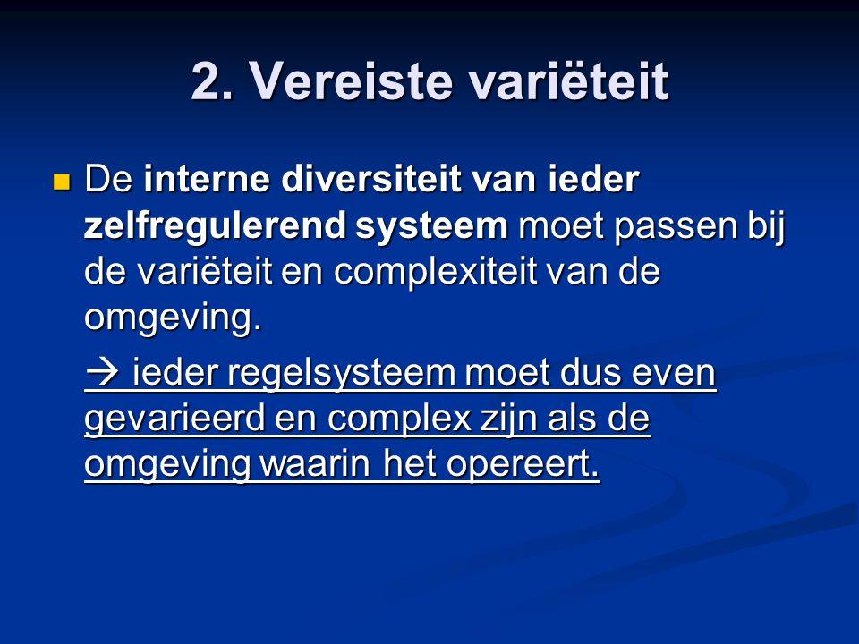 2. Vereiste variëteit De interne diversiteit van ieder zelfregulerend systeem moet passen bij de variëteit en complexiteit van de omgeving. De interne
